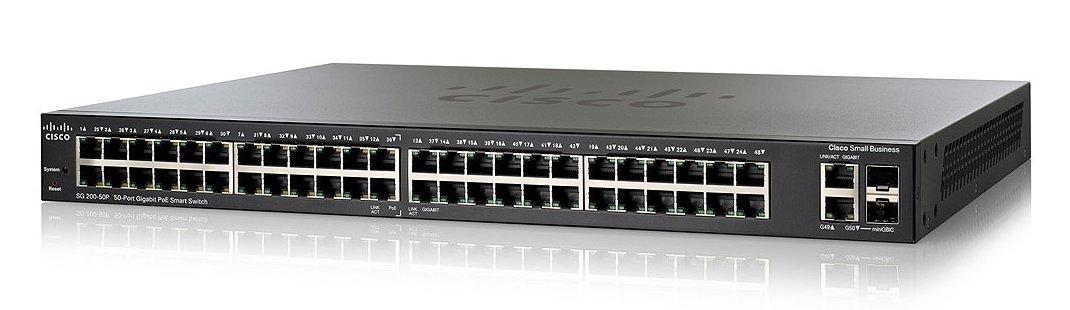 Cisco 48 Port Gigabit ( 24 POE - 180 Watts ) & 2 x combo Gigabit SFP Smart Switch / SG200-50P / SLM2048PT
