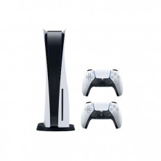 Sony PlayStation 5 Console with 2 DualSense Wireless Controller - White and Black