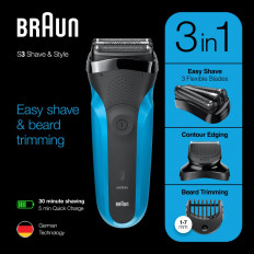 Braun Series 3 Shave & Style 310BT Wet & Dry razor with precision beard trimmer and 5 comb attachments, black / blue