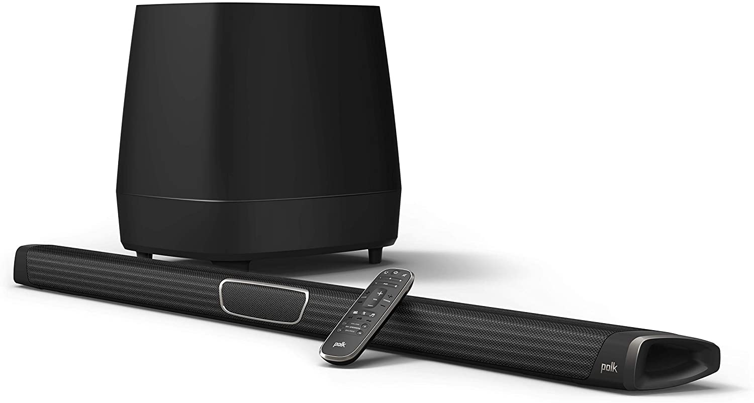 Polk Audio MagniFi Max Home Theater Sound Bar with 5.1 Dolby Digital Experience   Works with 4K & HD TVs   HDMI & Optical Cables, Wireless Subwoofer Included Black