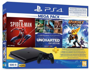 Sony CUH-2216A PlayStation 4 Slim with 3 Games, 500 GB - Jet Black