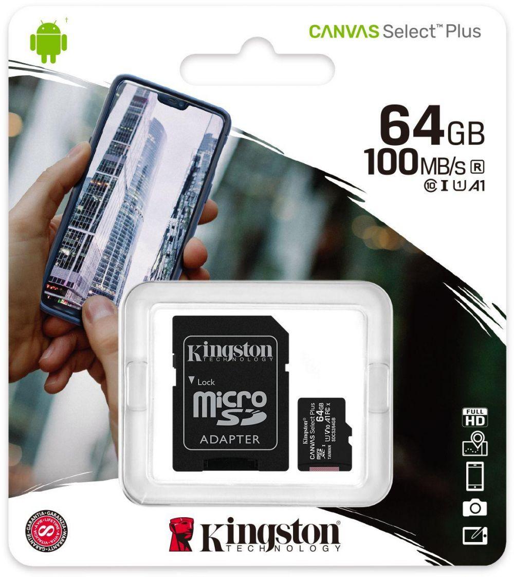 Kingston 64GB MicroSD Class 10 Canvas Select Plus Card with SD Adaptor - SDCS2/64GB
