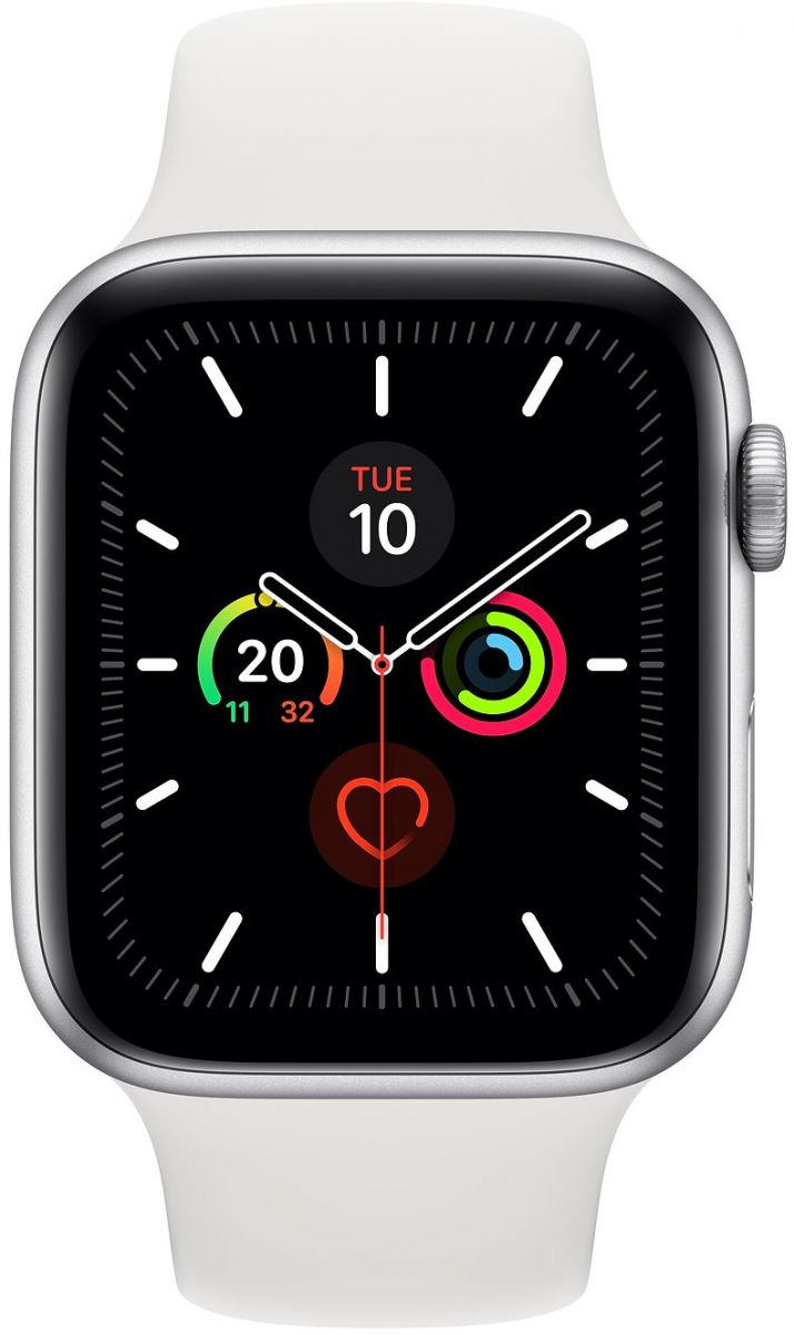 Apple Watch Series 5 - 44mm Silver Aluminium Case with White Sport Band - S/M & M/L, GPS, watchOS 6, MWVD2AE/A