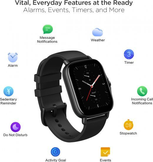 Amazfit GTS 2E Smartwatch with 24H Heart Rate Monitor, Sleep, Stress and SPO2 Monitor, Activity Tracker Sports Watch with 90 Sports Modes, 14 Day Battery Life - Obsidian Black