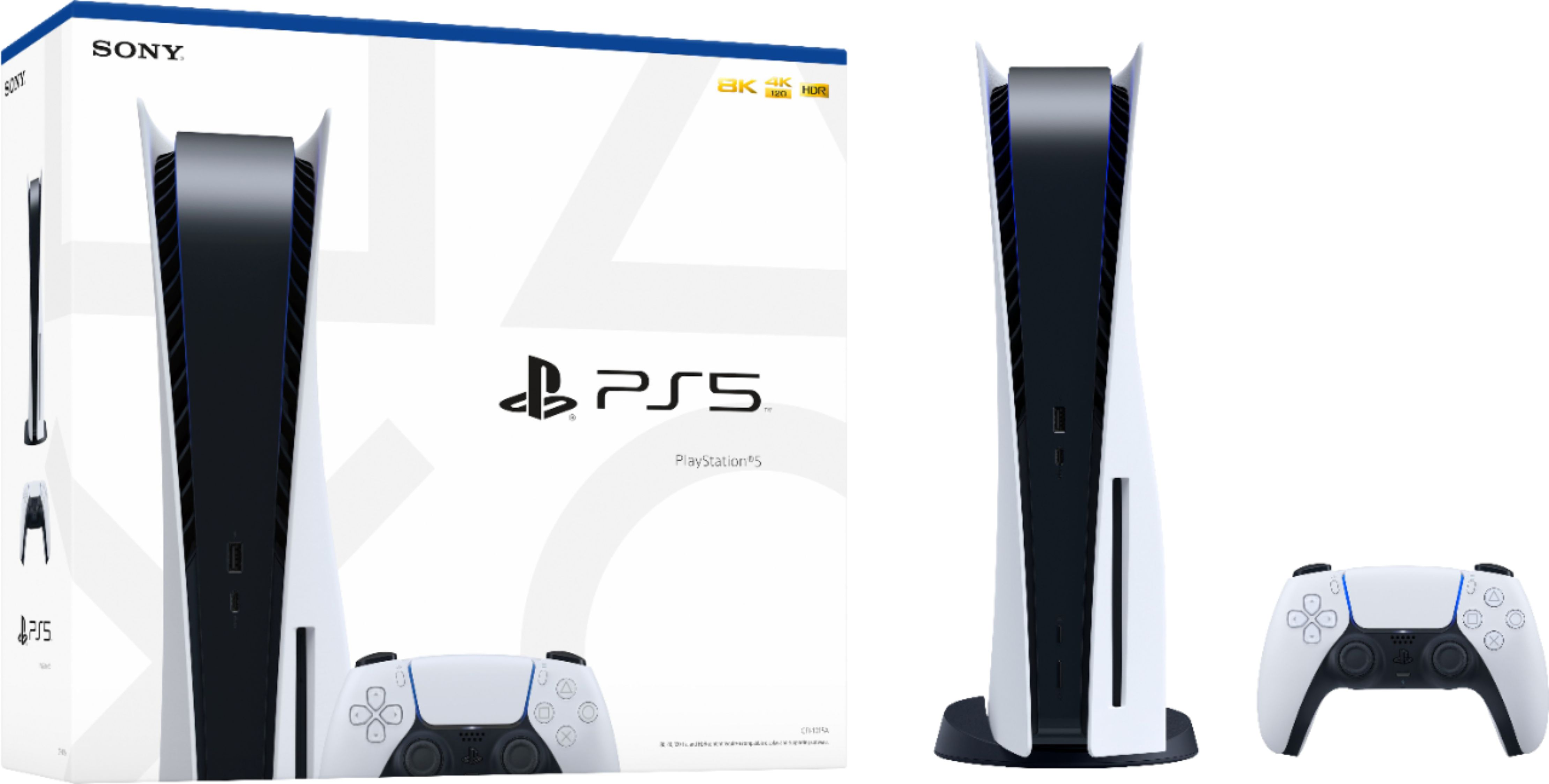 Sony PlayStation 5 Console with  DualSense Wireless Controller - White and Black