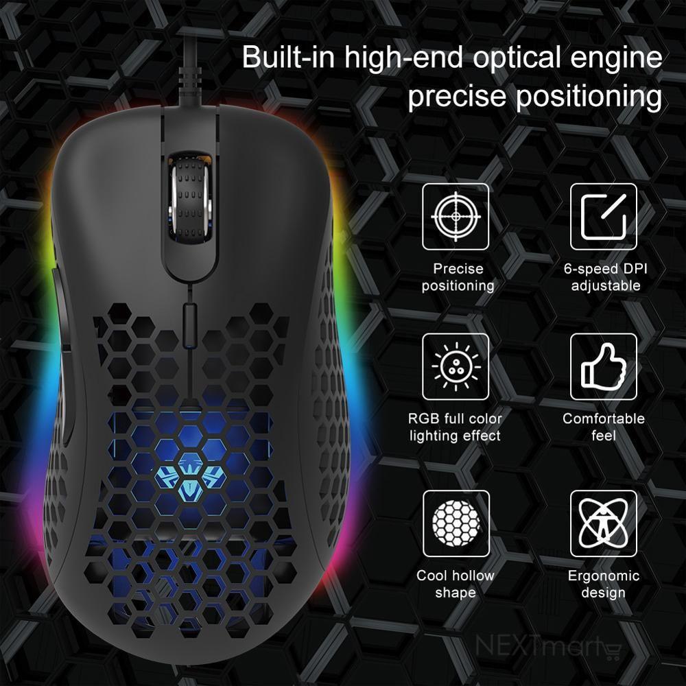 Aula F810 RGB Honeycomb USB Backlit Gaming Mouse -7 Button Macro Programming -6400DPI -98G