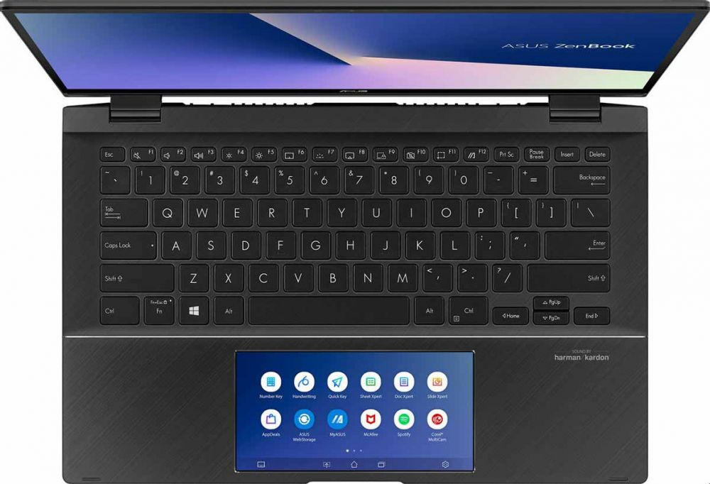 Asus ZenBook Flip 14 UX463FL-AI014T Laptop, 14 Inch FHD, Intel Core i7-10510U, 1 TB SSD, 16 GB RAM, 2GB NVIDIA GeForce MX250, Windows - Gun Grey , Arabic - English Keyboard