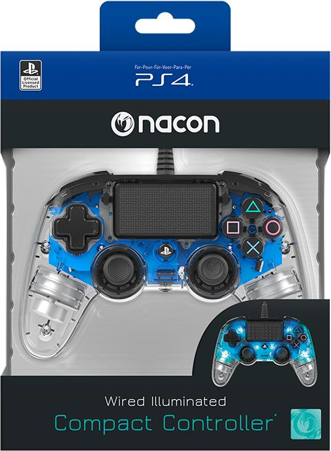 Nacon Ps4ofcpadclblue Wired Compact Controller For Playstation® 4 - Blue