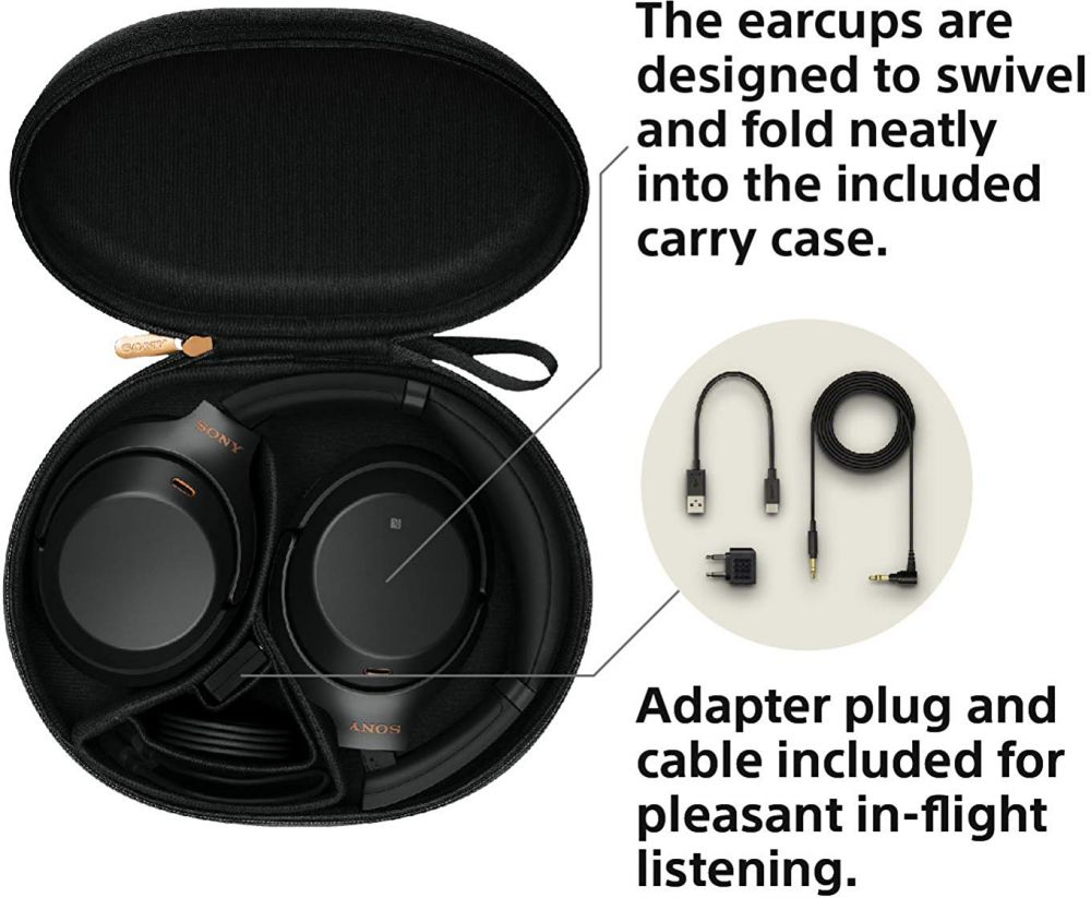 Sony WH1000XM3 Wireless Industry Leading Noise Canceling Over Ear Headphones, Black (WH-1000XM3/B)